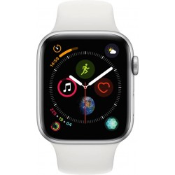 Apple Watch Series 4 GPS 44 mm Silver Aluminium Case with White Sport Band  (White Strap Regular)