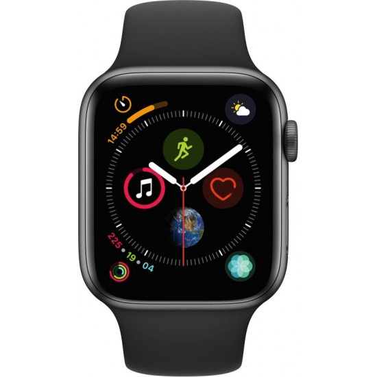 Apple Watch Series 4 GPS 44 mm Space Grey Aluminium Case with Black Sport  Band (Black Strap Regular)