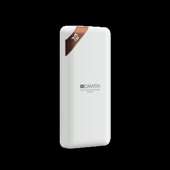 Canyon Compact power bank with digital display 10000 mAh PB-102 - White