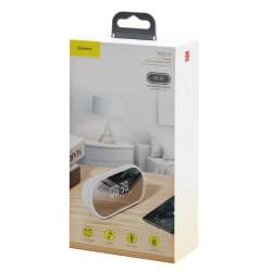 Baseus Speaker Bluetooth Encok E09 Stylish Portable Wireless alarm clock, LED lamp - White