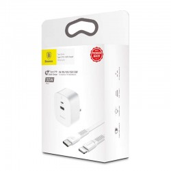 Baseus Travel Charger set Funzi Series Type-C (UK 3-PIN PD+1m Type-C Lightning) 30W - White