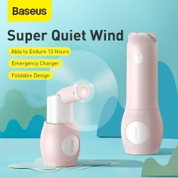 Baseus Fan Portable Tricolor bear Foldable - Pink