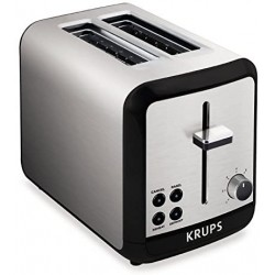KRUPS KH3110 Savoy Brushed Stainless Steel Toaster with Bagel Function and Wide Slots, 2-Slice - Silver