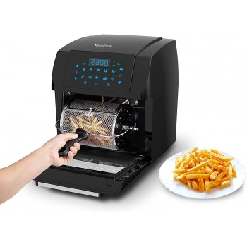 TurboTronic Air Fryer Oven Easy Home Cooking, Air Fryer, Rotisserie, and Dehydrator All in One Multi-Cooking Smart Oven, 360° Air Circulating