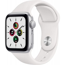 Apple Watch SE (40mm) - Silver Aluminium Case with White Sport Band