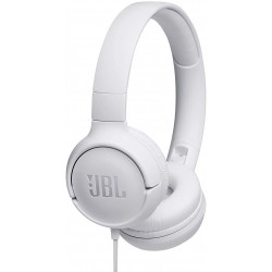 JBL T500 in White - On Ear Lightweight, Foldable Headphones with Pure Bass Sound - 1-Button Remote/Built-In Microphone