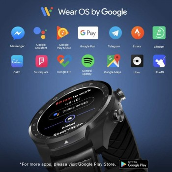 TicWatch Pro 2020 Fitness Smartwatch with 1GB RAM, built in GPS Layered Display Long Battery Life, NFC, 24H Heart Rate, Sleep Tracking, Music, IP68 Waterproof, Wear OS by Google with Android/iOS - Black