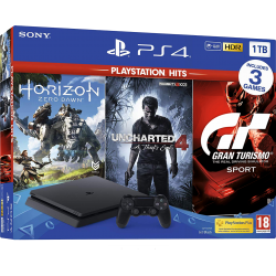 PlayStation 4 Slim 1 TB + 3 Games (GT Sport, Uncharted 4, Horizon Zero Dawn)